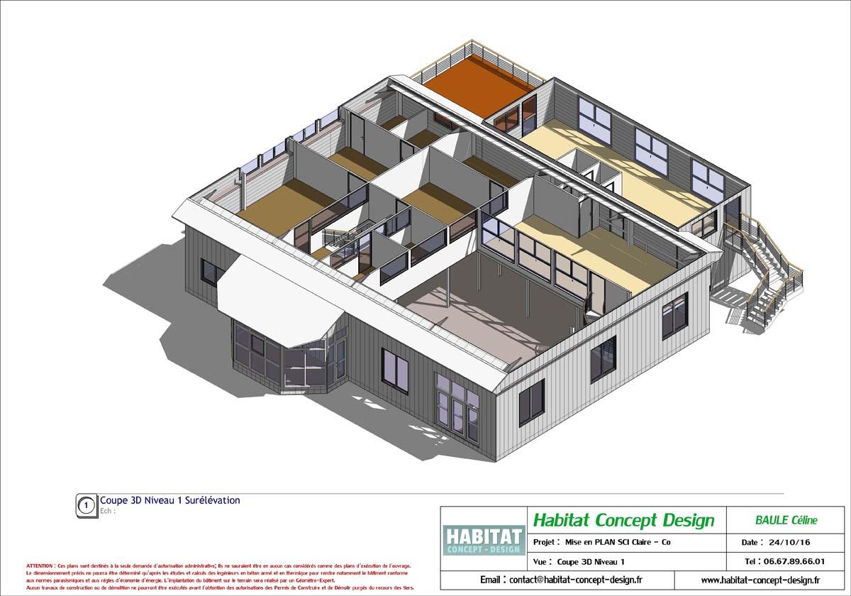 Plan batiment for Architecture 3d vue 3d